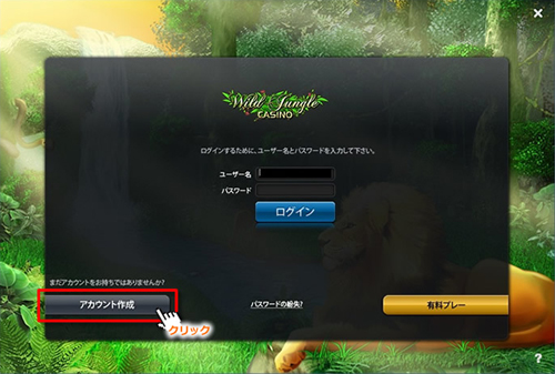 Wild Jungle CASINO登録手順②